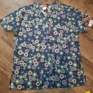 Dickies Medical Scrub Blue Floral NWT Size XS